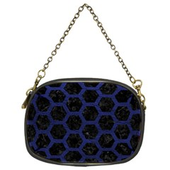 Hexagon2 Black Marble & Blue Leather Chain Purse (two Sides) by trendistuff