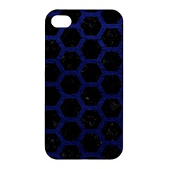 Hexagon2 Black Marble & Blue Leather Apple Iphone 4/4s Hardshell Case by trendistuff