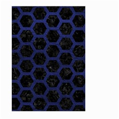 Hexagon2 Black Marble & Blue Leather Large Garden Flag (two Sides) by trendistuff