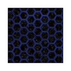 Hexagon2 Black Marble & Blue Leather Acrylic Tangram Puzzle (6  X 6 ) by trendistuff