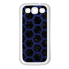 Hexagon2 Black Marble & Blue Leather Samsung Galaxy S3 Back Case (white) by trendistuff