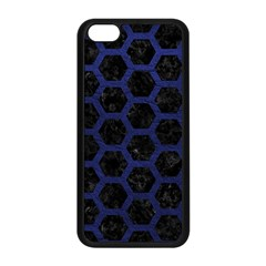 Hexagon2 Black Marble & Blue Leather Apple Iphone 5c Seamless Case (black) by trendistuff