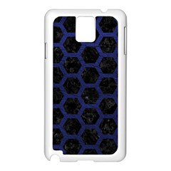 Hexagon2 Black Marble & Blue Leather Samsung Galaxy Note 3 N9005 Case (white) by trendistuff