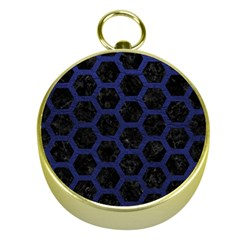 Hexagon2 Black Marble & Blue Leather Gold Compass by trendistuff