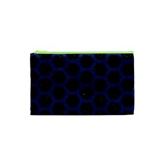 Hexagon2 Black Marble & Blue Leather Cosmetic Bag (xs) by trendistuff