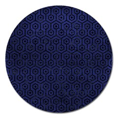 Hexagon1 Black Marble & Blue Leather (r) Magnet 5  (round) by trendistuff