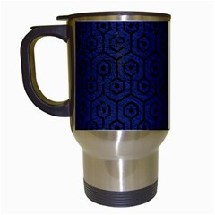 Hexagon1 Black Marble & Blue Leather (r) Travel Mug (white) by trendistuff
