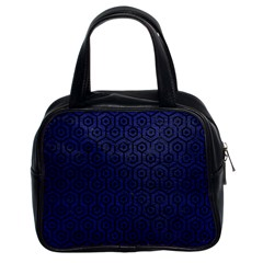 Hexagon1 Black Marble & Blue Leather (r) Classic Handbag (two Sides) by trendistuff