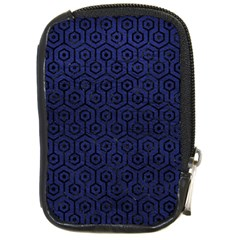 Hexagon1 Black Marble & Blue Leather (r) Compact Camera Leather Case by trendistuff