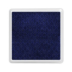 Hexagon1 Black Marble & Blue Leather (r) Memory Card Reader (square) by trendistuff