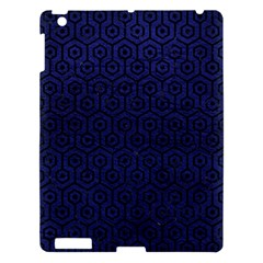 Hexagon1 Black Marble & Blue Leather (r) Apple Ipad 3/4 Hardshell Case by trendistuff