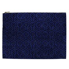 Hexagon1 Black Marble & Blue Leather (r) Cosmetic Bag (xxl) by trendistuff