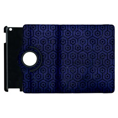 Hexagon1 Black Marble & Blue Leather (r) Apple Ipad 2 Flip 360 Case by trendistuff