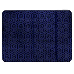 Hexagon1 Black Marble & Blue Leather (r) Samsung Galaxy Tab 7  P1000 Flip Case by trendistuff