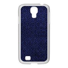 Hexagon1 Black Marble & Blue Leather (r) Samsung Galaxy S4 I9500/ I9505 Case (white) by trendistuff