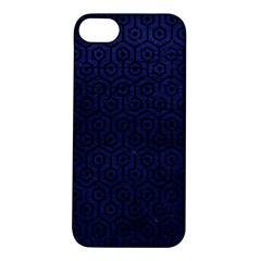 Hexagon1 Black Marble & Blue Leather (r) Apple Iphone 5s/ Se Hardshell Case by trendistuff