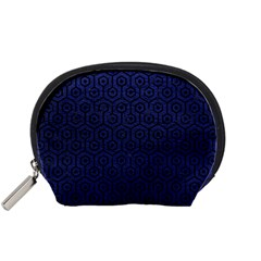 Hexagon1 Black Marble & Blue Leather (r) Accessory Pouch (small) by trendistuff