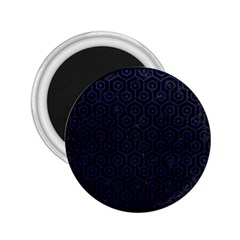 Hexagon1 Black Marble & Blue Leather 2 25  Magnet