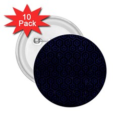 Hexagon1 Black Marble & Blue Leather 2 25  Button (10 Pack) by trendistuff