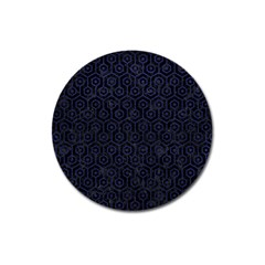 Hexagon1 Black Marble & Blue Leather Magnet 3  (round) by trendistuff