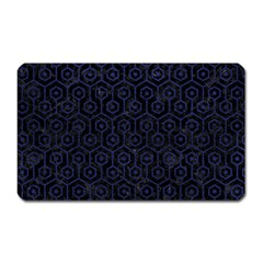 Hexagon1 Black Marble & Blue Leather Magnet (rectangular) by trendistuff