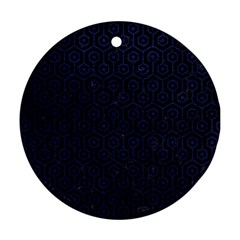 Hexagon1 Black Marble & Blue Leather Round Ornament (two Sides) by trendistuff