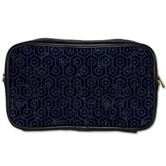 Hexagon1 Black Marble & Blue Leather Toiletries Bag (one Side) by trendistuff