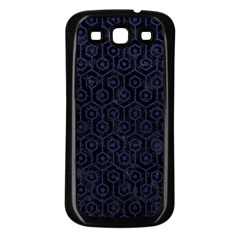 Hexagon1 Black Marble & Blue Leather Samsung Galaxy S3 Back Case (black) by trendistuff