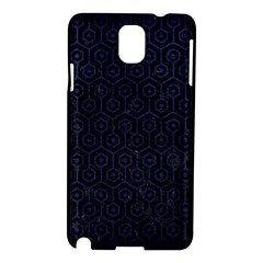 Hexagon1 Black Marble & Blue Leather Samsung Galaxy Note 3 N9005 Hardshell Case by trendistuff