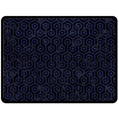 Hexagon1 Black Marble & Blue Leather Double Sided Fleece Blanket (large) by trendistuff