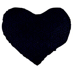 Hexagon1 Black Marble & Blue Leather Large 19  Premium Flano Heart Shape Cushion by trendistuff