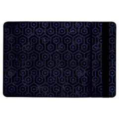 Hexagon1 Black Marble & Blue Leather Apple Ipad Air 2 Flip Case by trendistuff