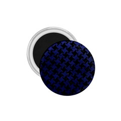Houndstooth2 Black Marble & Blue Leather 1 75  Magnet