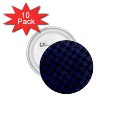 Houndstooth2 Black Marble & Blue Leather 1 75  Button (10 Pack)  by trendistuff