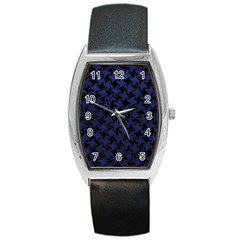 Houndstooth2 Black Marble & Blue Leather Barrel Style Metal Watch by trendistuff