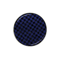 Houndstooth2 Black Marble & Blue Leather Hat Clip Ball Marker (10 Pack) by trendistuff