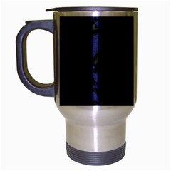 Houndstooth2 Black Marble & Blue Leather Travel Mug (silver Gray) by trendistuff