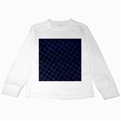 Houndstooth2 Black Marble & Blue Leather Kids Long Sleeve T Shirt