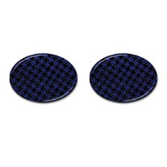 Houndstooth2 Black Marble & Blue Leather Cufflinks (oval) by trendistuff