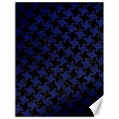 Houndstooth2 Black Marble & Blue Leather Canvas 12  X 16  by trendistuff