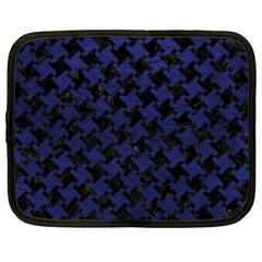 Houndstooth2 Black Marble & Blue Leather Netbook Case (xl) by trendistuff