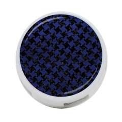 Houndstooth2 Black Marble & Blue Leather 4 Port Usb Hub (one Side) by trendistuff