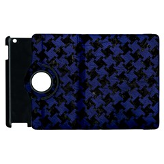 Houndstooth2 Black Marble & Blue Leather Apple Ipad 2 Flip 360 Case