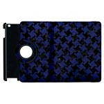 HOUNDSTOOTH2 BLACK MARBLE & BLUE LEATHER Apple iPad 2 Flip 360 Case Front