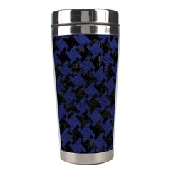 Houndstooth2 Black Marble & Blue Leather Stainless Steel Travel Tumbler by trendistuff