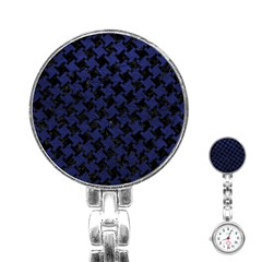 Houndstooth2 Black Marble & Blue Leather Stainless Steel Nurses Watch by trendistuff