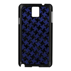 Houndstooth2 Black Marble & Blue Leather Samsung Galaxy Note 3 N9005 Case (black) by trendistuff