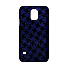 Houndstooth2 Black Marble & Blue Leather Samsung Galaxy S5 Hardshell Case  by trendistuff