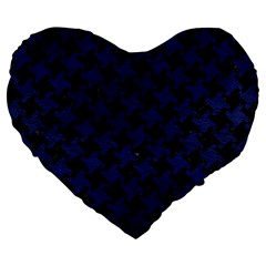 Houndstooth2 Black Marble & Blue Leather Large 19  Premium Flano Heart Shape Cushion by trendistuff