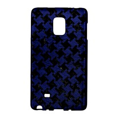 Houndstooth2 Black Marble & Blue Leather Samsung Galaxy Note Edge Hardshell Case by trendistuff